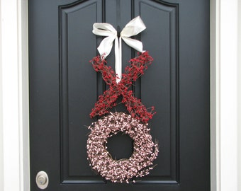 Valentine Wreath - Valentine's Day Wreath - Kisses and Hugs Berry Wreath - XO - Wedding Wreath