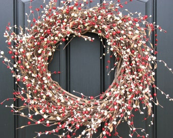 Red and Cream Christmas Berry Wreath, Christmas Wreath, Holiday Berry Wreaths, Red Faux Berry Wreath, Candy Cane Wreath