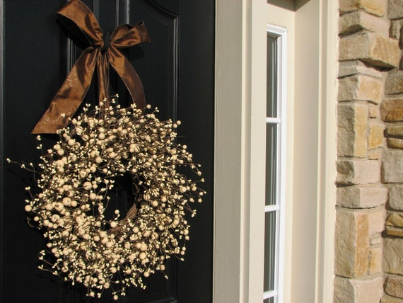 Berry Wreaths - Front Door Wreath - Chocolate and Cream