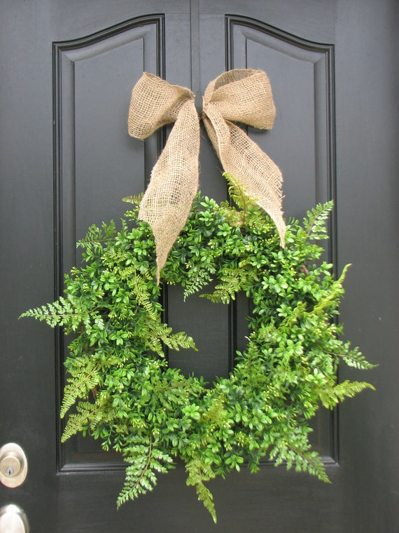 Boxwood Wreath with Fern and Burlap Bow for Year Round