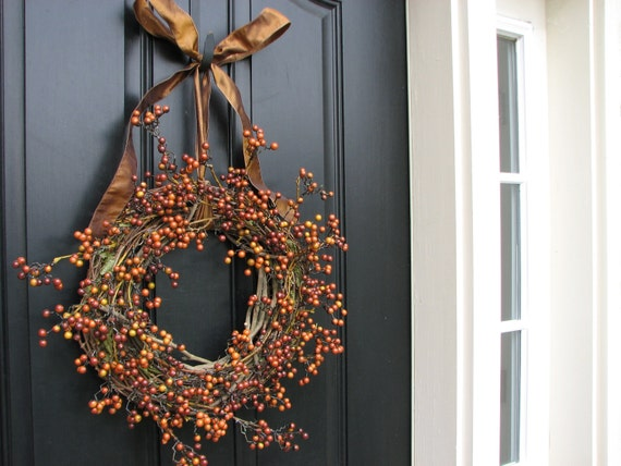 Fall Berry Wreath - Natural Berries On the Vine Wreath for Fall Home Decor  FREE SHIPPING