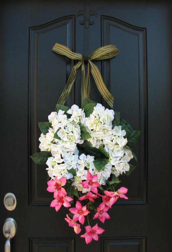 Summer Flowers - Pink Clematis - Spring Wreath - Hydrangea Wreaths