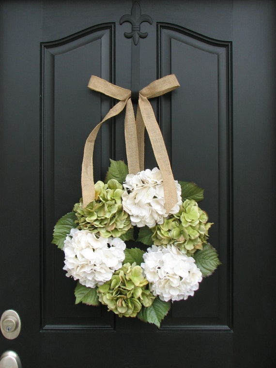 Reserved Listing for Kelley - 10 Hydrangea Wreath with CHOCOLATE Bow - Wreaths - Hydrangea Wreath -  Wreaths for All Seasons