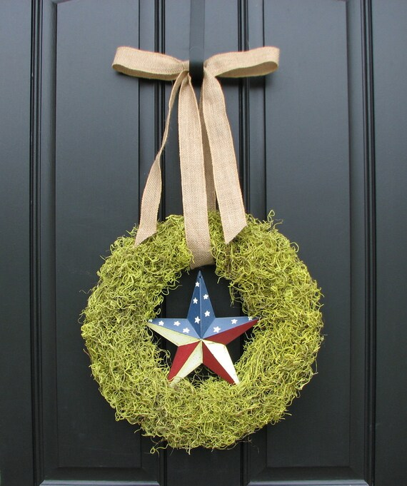 Reserved for jlaciofoli - Moss Wreaths - Patriotic Wreath - Burlap Bow - Moss Decor