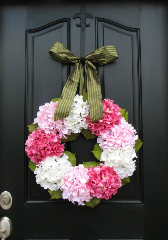 RESERVED Hydrangea Wreath - Hydrangea Blooms for Spring and Summer - Shabby Chic Decor