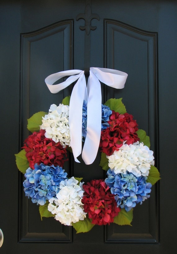 Holiday Wreaths - 4th of July Wreath - Independence Day Decor - Red White and Blue