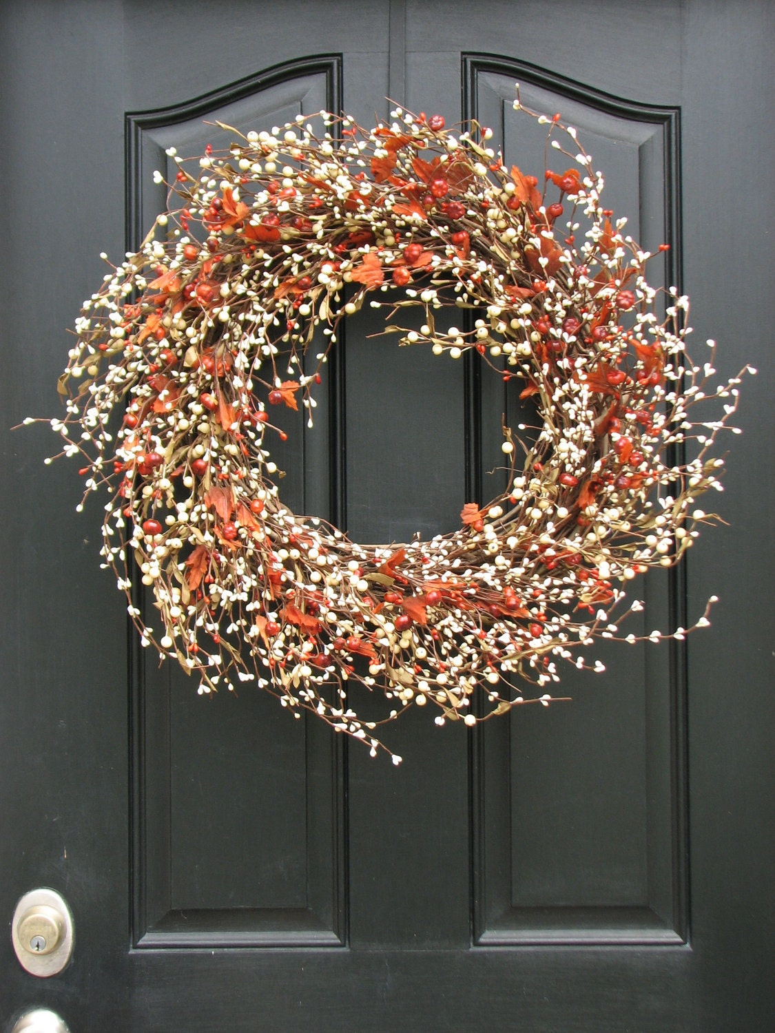 Autumn Wreath Pumpkins And Cream Berry Wreath With Leaves