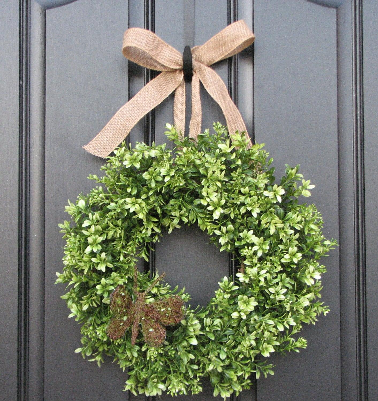Summer wreath sale boxwood wreath door wreaths by for How to make door wreaths for spring