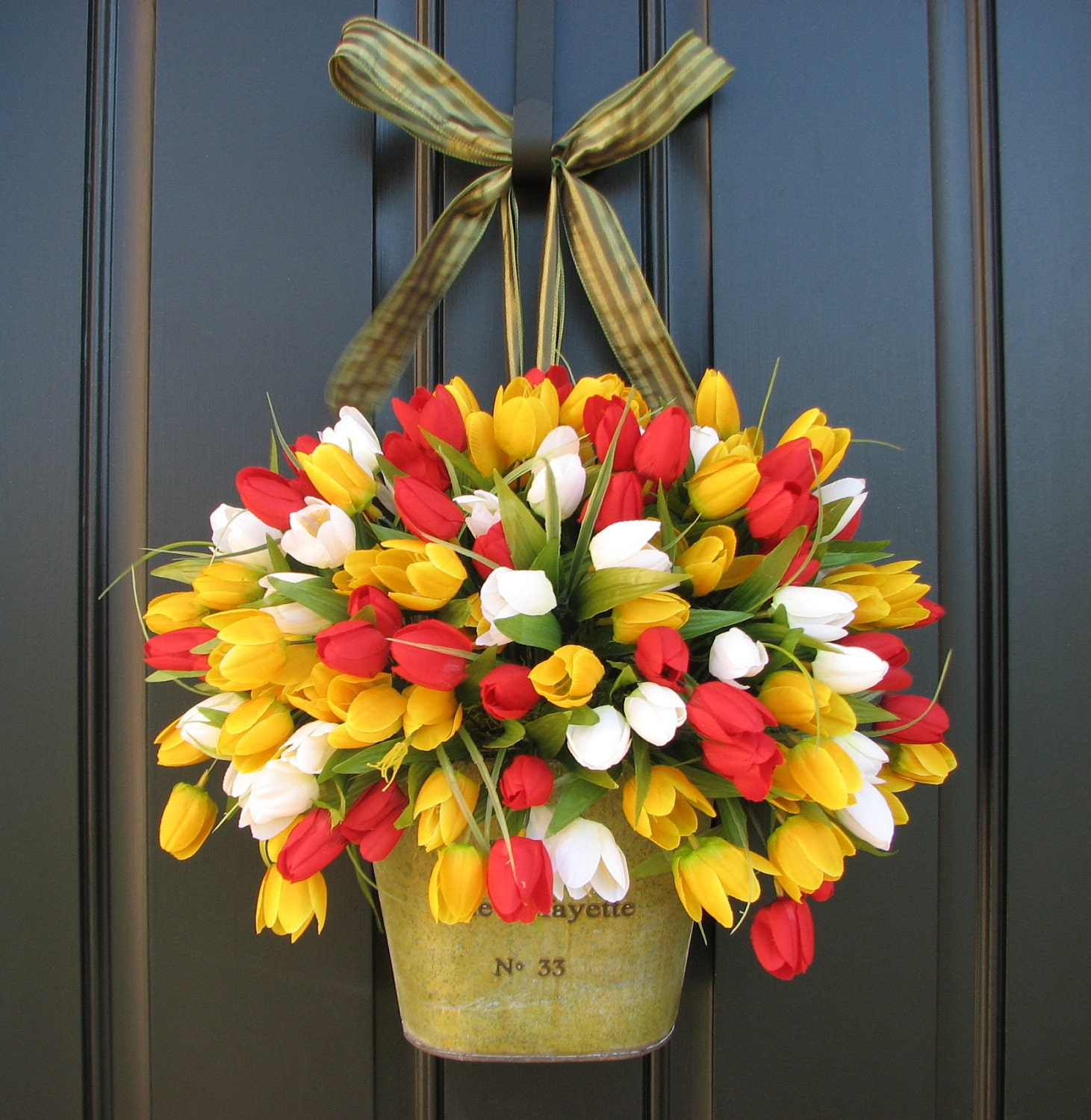 Country Front Door Decorations: Spring Tulips Farmhouse Tulips Front Door Decor Country