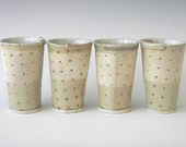 Hand Built Ceramic Juice Cup- Modern Rustic Polka Dot Pattern