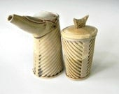 Hand Built Ceramic Cream and Sugar Set - Modern Rustic Line Pattern