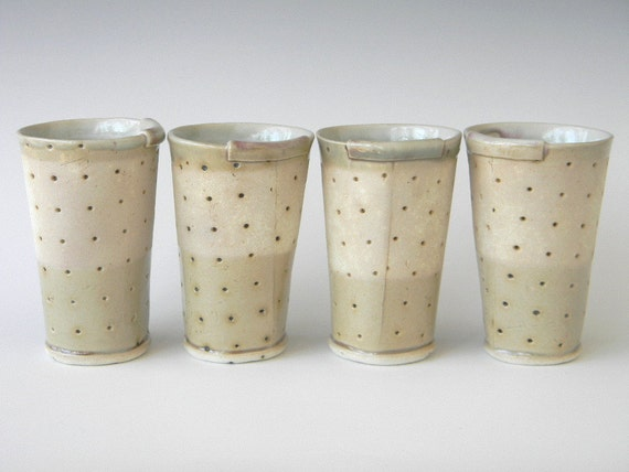 Hand Built Ceramic Juice Cup- Modern Rustic Polka Dot Pattern