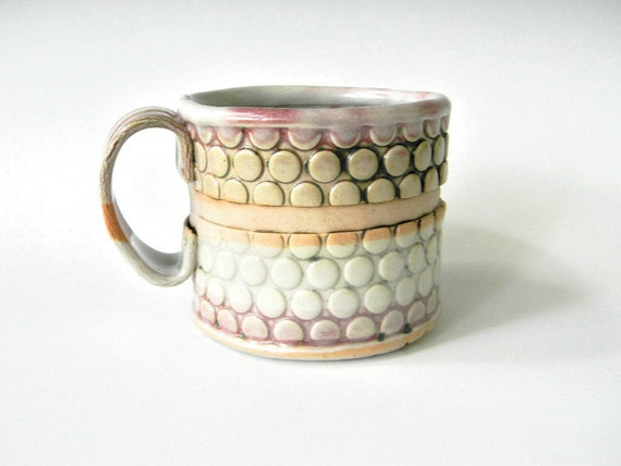 Hand Built Mug - Bubble Pattern-  MOTHER'S DAY SALE - Free  U . S . and Canadian Shipping