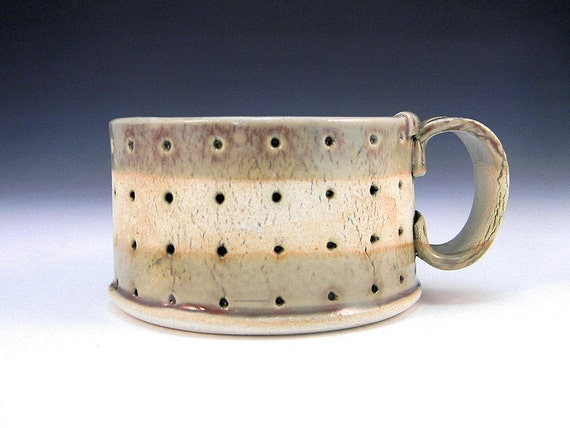 Hand Built Ceramic Cappucino Cup - Modern Rustic Oval