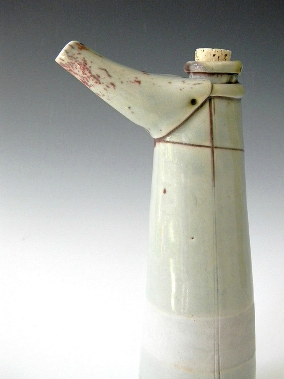 Tall Hand Built Porcelain Oil Cruet - Modern Rustic Kitchen and Home Decor