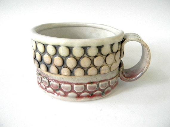 Hand Built Cappucino Cup - Oval With Bubble Pattern