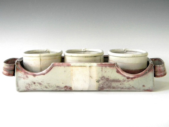 Modern Rustic Porcelain Hand Built Serving Tray With Condiment Dishes -  Free U.S. Shipping