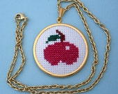 Embroidered Apple Necklace - Gold, Red, Green