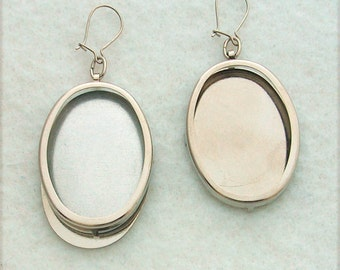 Silver Tone Oval Earring Settings, Earring Frames, Embroidery Earring Mounts, Make Embroidered Earrings, Mountings 115ST