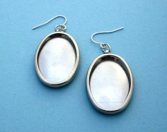 Silver Oval Earring Settings, Earring Frames, Earring Mounts, Earring Making, Embroidery Earring Mountings, Make Embroidered Earrings, 144ST