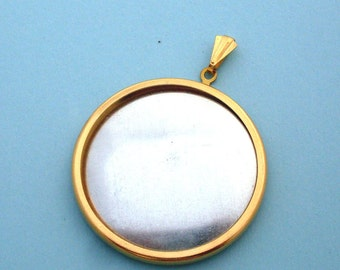Gold Round Pendant Setting Frame Mounting 125GT
