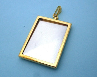 Gold Rectangular Pendant Setting Frame Mounting 136GT