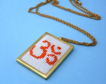 Embroidered Om Necklace - Gold, Orange