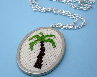 Embroidered Palm Tree Necklace - Silver, Red, Brown, Embroidered Necklace, SIlver Palm Tree Necklace