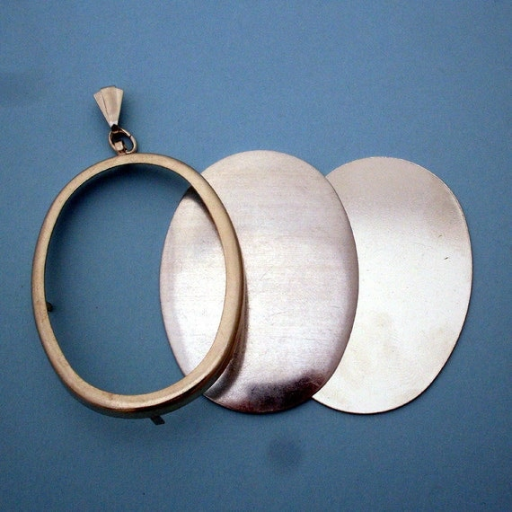 Silver Tone Oval Pendant Setting Frame Mounting 134st