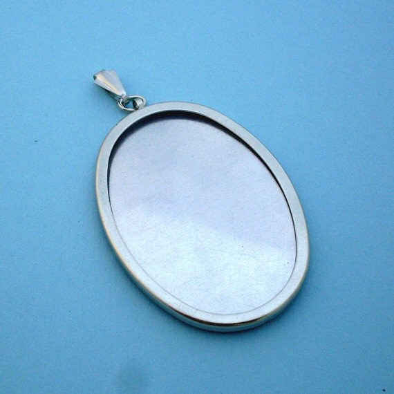 Silver Oval Pendant Setting Frame Mounting 140ST
