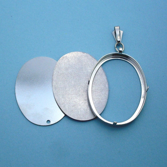 Silver Tone Oval Pendant Setting Frame Mounting 112ST Hoop Pendant Mini Embroidery Hoop Metal ...