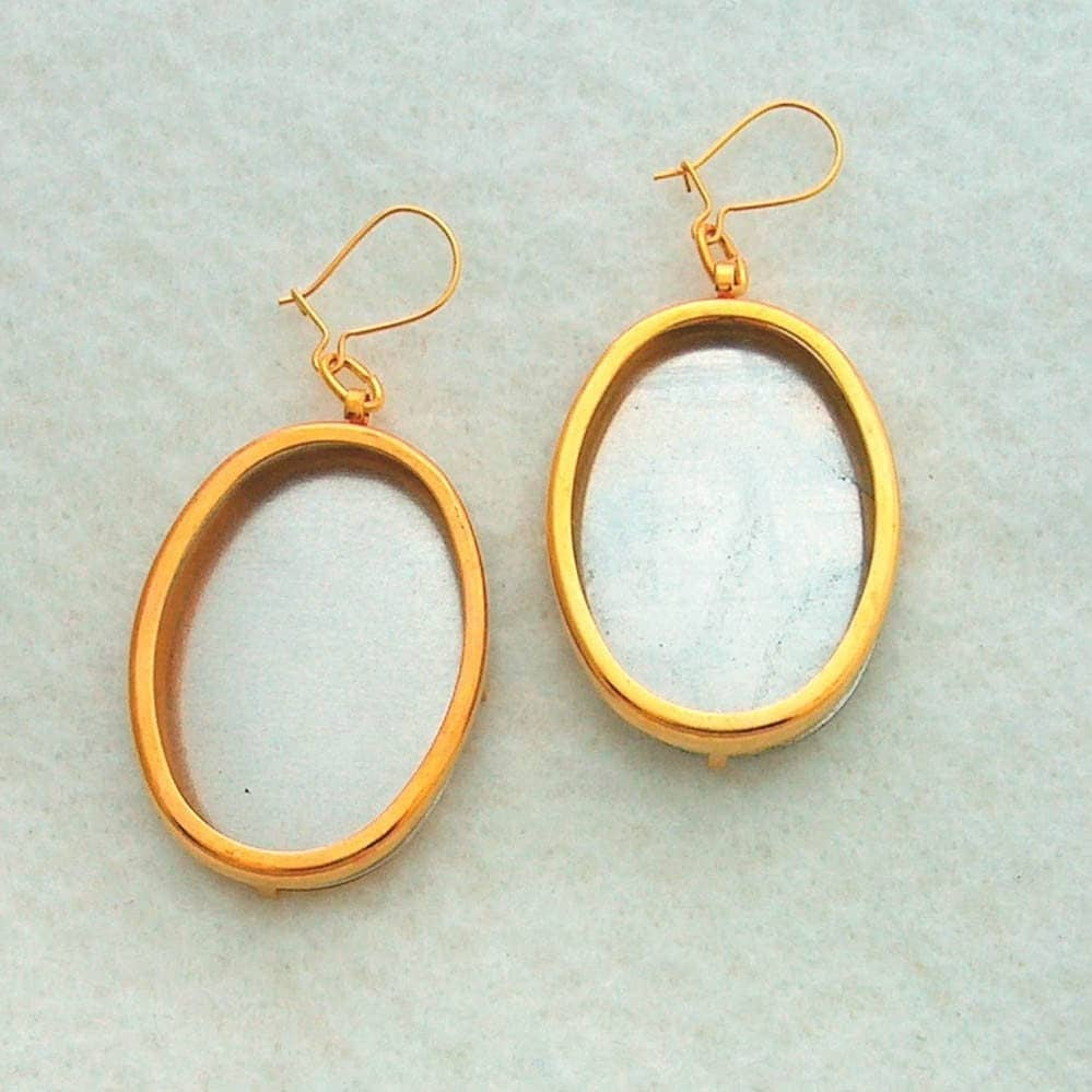 Gold Tone Oval Earring Settings Frames Mountings 115G