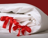 Twin duvet cover set - Bow tie  - 100% Combed Percale Cotton with Italian Satin ribbon
