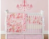 Baby girl bedding - Fairies collection - 3pc crib set -  Bumper, Box pleat skirt, Crib fitted sheet - choose your fabrics - piping included