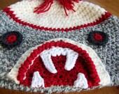 Crochet Pattern Sock Monkey Zombie Hat earflaps child, tween, teen, adult INSTANT pdf DOWNLOAD with BONUS Crazy Frog Hat Pattern