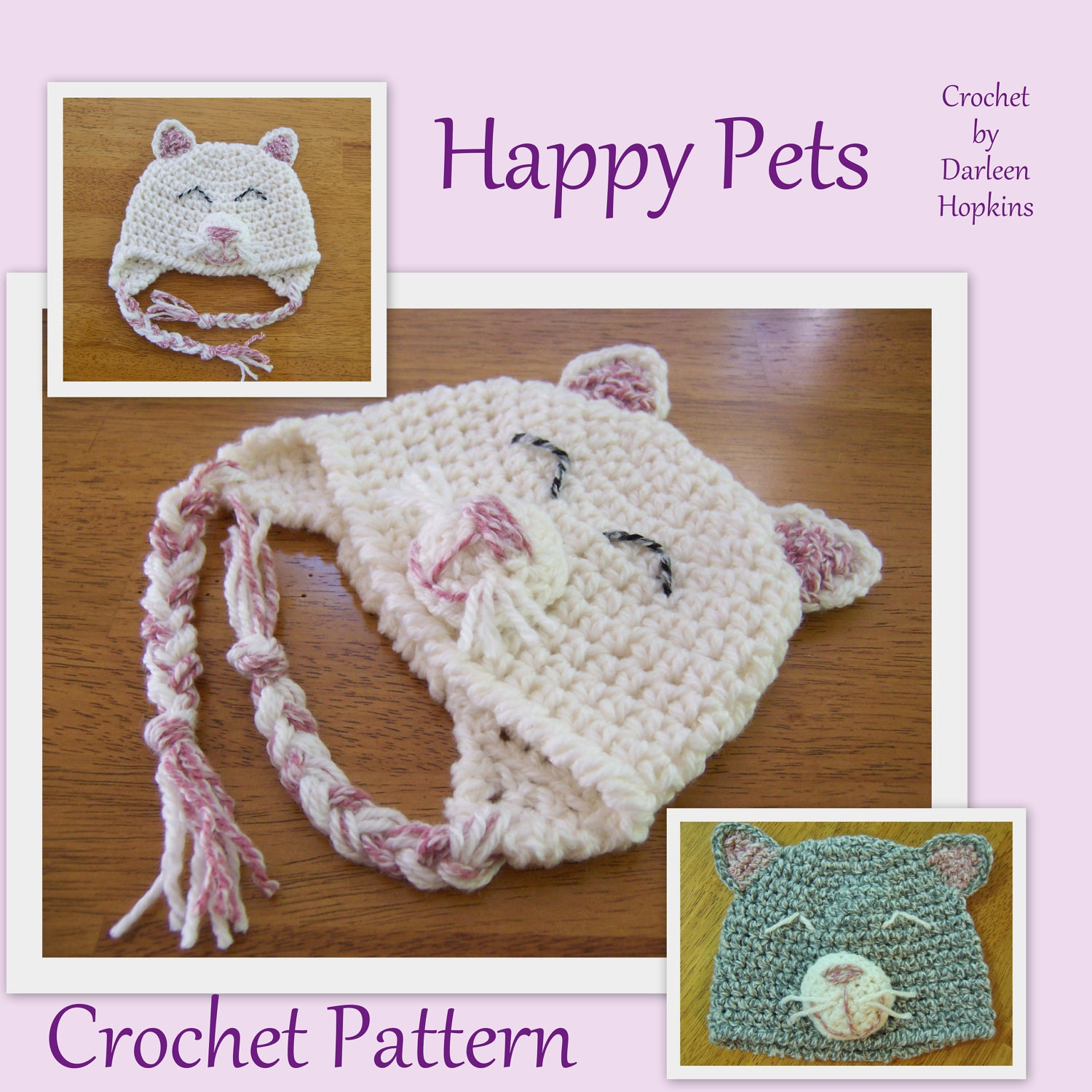 Crochet Kitty Hat Pattern : Crochet Pattern Cat Hat with earflaps Happy by CrochetByDarleen