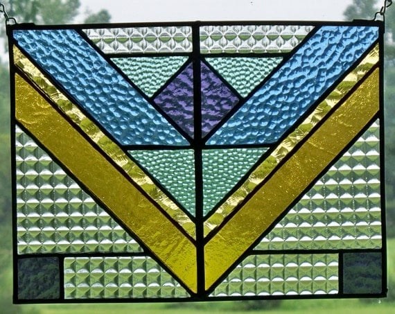 Craftsman Style Colorful Window Panel With Chevrons