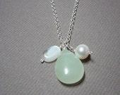Teardrop jade, pearl and moonstone trio necklace