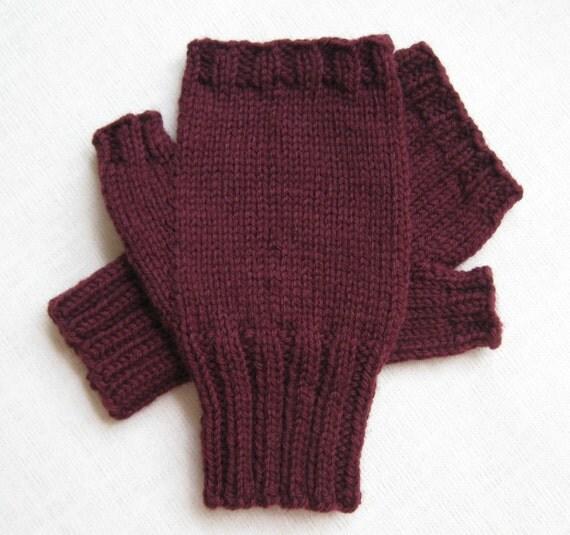 Mens Fingerless Gloves - Maroon - size M/L