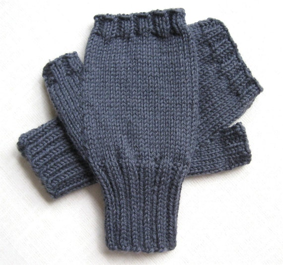 Mens Fingerless Gloves - Gray - size M/L