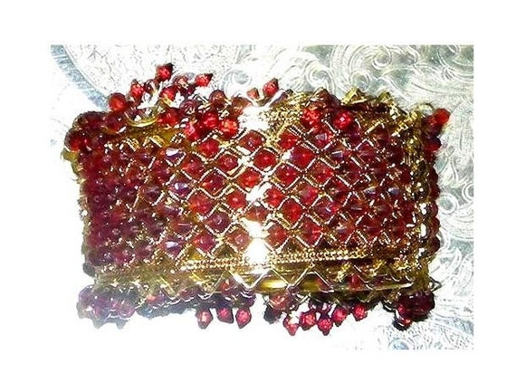 65 percent off- Gorgeous Festive CUFF Sparkly Cranberry Red Belly Dancing accessory on Sale