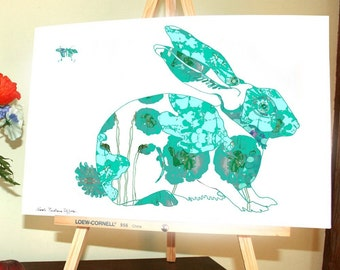 TURQUOISE Rabbit Art Print Rabbit Wall Art Bunny 13 x 19, 11 x 14, 8.5 x 11, 8 x 10, 5 x 7