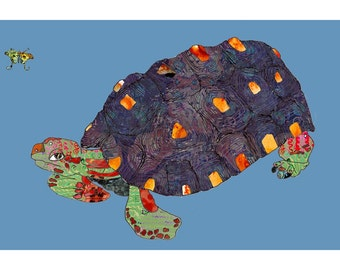 Tortoise on Blue Background 13x19 or 8.5x11