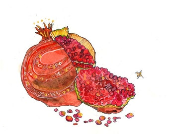Matted Pomegranate Limited Edition Fine Art Print // Fruit Red Gouache Watercolor // Home Decor