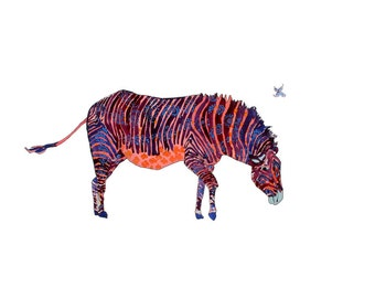 Matted Purple Zebra - Zoo Animal Print- Zebra Art Print - limited edition art print // Home Decor