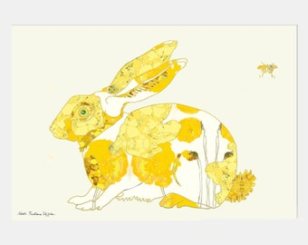 Rabbit - Yellow Rabbit - Art Print - Bunny Art - Nursery Art -13 x 19, 11 x 14, 8.5 x 11, 8 x 10, 5 x 7