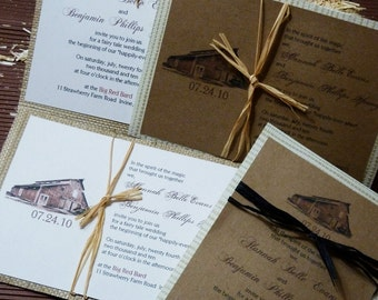 Customize YOUR OWN Barn Venue Rustic Red Barn Winery Woodland Western Wedding Invitation Set