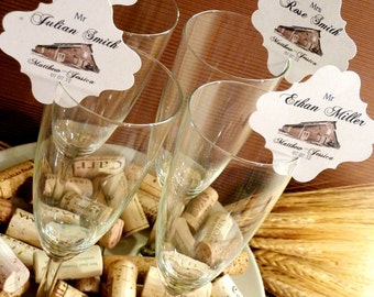 Printable Rustic Champagne Wine Barn Woodland Tribal Wedding and Event Place Cards