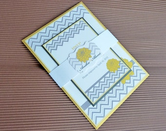 Chevron Yellow and Grey Wedding Invitation Set with Belly Band