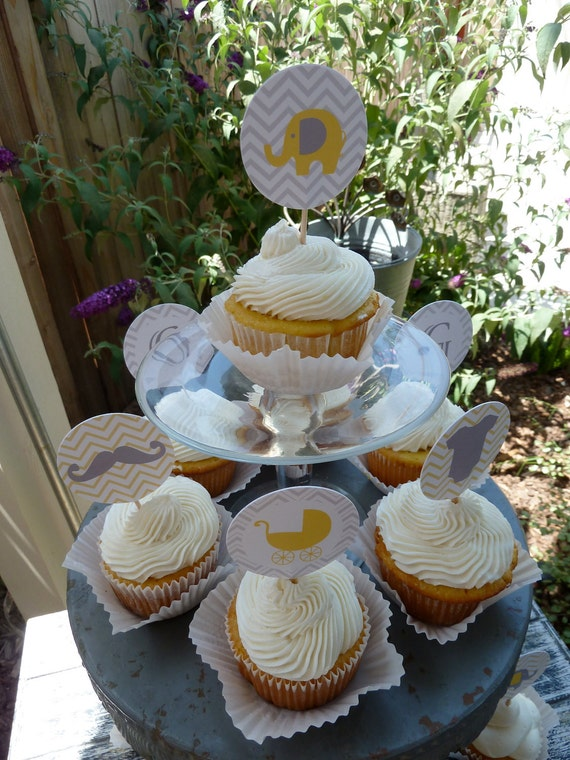 Chevron Yellow and Grey Baby Shower Cupcake Toppers set of 12
